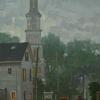 EVENING  FOG ON CLEVE STREET, ROCKPORT MASS.  24 X 16 SOLD